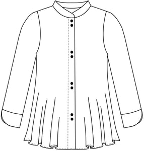 drawing of a button down blouse with a short standing collar and a full body