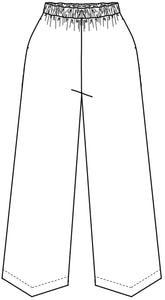 flat drawing of an elastic waist pant with a pointed triangular hemline