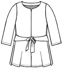 Load image into Gallery viewer, technical drawing of a top with 3/4 sleeves and a tie at the waist
