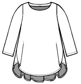 drawing of a top with a 3/4 sleeve and a full flowing body with a high low hem