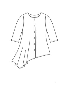 drawing of an asymmetrical button up blouse