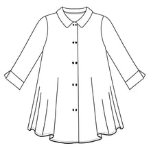 Load image into Gallery viewer, drawing of a button down blouse with a long body, and split cuffs at the sleeve hems