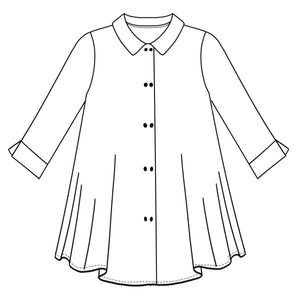 drawing of a button down blouse with a long body, and split cuffs at the sleeve hems