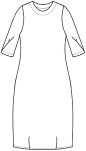 drawing of a shift dress with darts at the bottom and a pleat detail at the sleeve hem