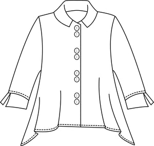 flat drawing of a button up jacket with a hankerchief hemline