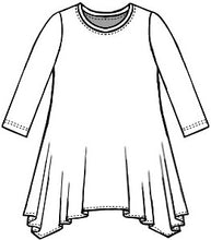 Load image into Gallery viewer, drawing of a pullover tee with a hankerchief hemline