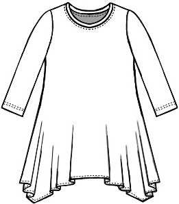 drawing of a pullover tee with a hankerchief hemline