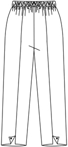 drawing of a pant with a center front seam and a split detail with a button at each ankle