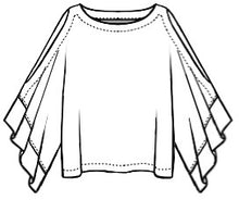 Load image into Gallery viewer, drawing of a top with kimono style sleeves, featuring a slit along the length of each sleeve