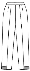 flat drawing of a pant with a flat front waistband, seams down the front center, and an uneven hemline at the ankles.