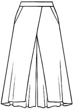 Load image into Gallery viewer, flat drawing of a wide leg black pant with a layered piece in the front