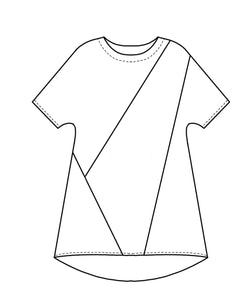 flat drawing of a color blocked top