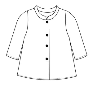 flat drawing of a button up top with 4 buttons, 3/4 sleeves and a short standing collar
