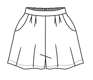 flat drawing of shorts with an elastic waist in the back, pleats and pockets in the front