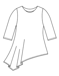 drawing of a top with an asymmetrical hemline