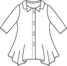 Load image into Gallery viewer, flat drawing of a button up top with a hankerchief hemline and a double collar, and 3/4 sleeves