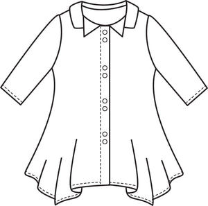 flat drawing of a button up top with a hankerchief hemline and a double collar, and 3/4 sleeves
