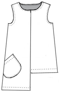 drawing of a sleeveless top with a dramatic asymmetrical hem and a single hip pocket