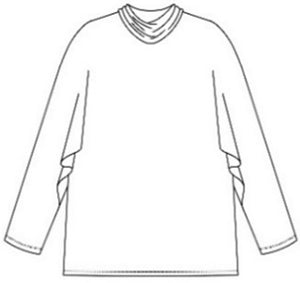 drawing of a top with long dolman sleeves and a cowl neck