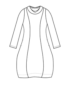 drawing of a tunic with princess seams and a cowl neckline