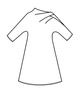 drawing of a dress with an asymmetrical neckline