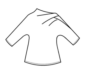 drawing of a top with an asymmetrical neckline