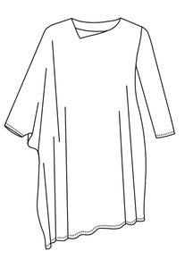 drawing of a tunic with an asymmetrical neckling and sleeves