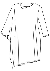 drawing of a tunic with one cocoon style sleeve and body, and one regular sleeve
