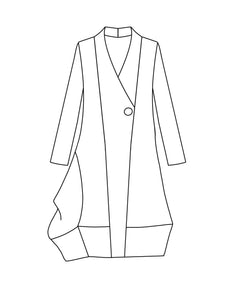 drawing of a coat with an asymmetrical body