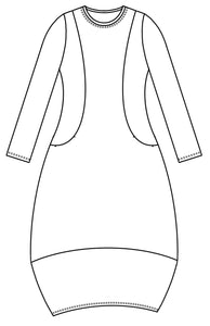 drawing of a dress with princess seams turning towards the waist and a large contrasted hem