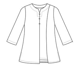 drawing of a top with an asymmetrical hem and button detail at the neck