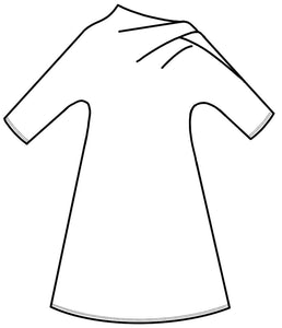 drawing of a shift dress with an asymmetrical neckline