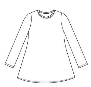 drawing of a plain, pullove over long sleeve tee