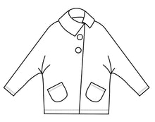 Load image into Gallery viewer, drawing of a short jacket with dolman style sleeves and an asymmetrical front seam and collar