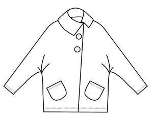 drawing of a short jacket with dolman style sleeves and an asymmetrical front seam and collar