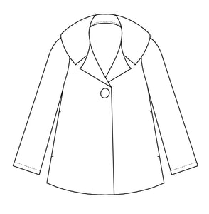 drawing of a wide jacket with a large collar and single button