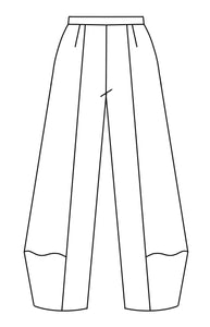 Flat drawing of a wide leg pant with a tall cuff at the bottom and a flat front waist band