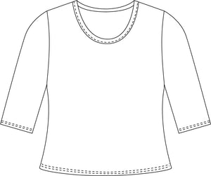 drawing of a tee with a 3/4 sleeve