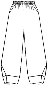 flat drawing of a elastic waist pant with pockets and a wide cuff detail