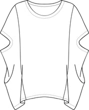 Load image into Gallery viewer, drawing of a pullover poncho style top