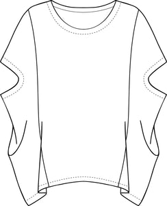 drawing of a pullover poncho style top