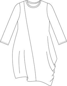 drawing of a tunic with an asymmetrical drape at the side