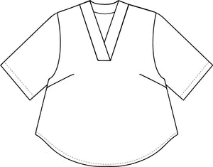 drawing of a boxy pullover top with a vneck and short sleeves