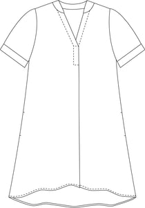 drawing of a loose fitting dress with a split v-neck and cuffs at the sleeve hems