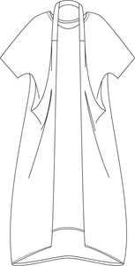 drawing of a tunic with two extended side panels attached with a strap worn around the neck, halter style