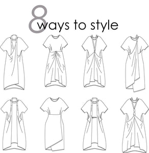 illustrations of the different styling options for the tunic, tying and wearing the strap in different ways