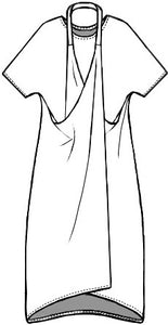 flat drawing of a tunic with a crisscrossed halter style strap coming from either side