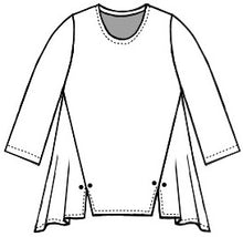 Load image into Gallery viewer, drawing of a pull over top with princess seams ending in a split at the bottom hem with a twin button detail.
