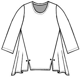 drawing of a pull over top with princess seams ending in a split at the bottom hem with a twin button detail.