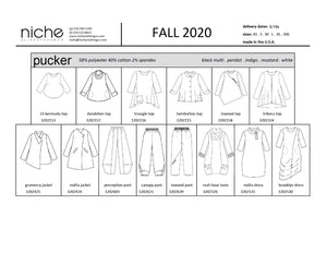 linesheet for a cotton pucker group